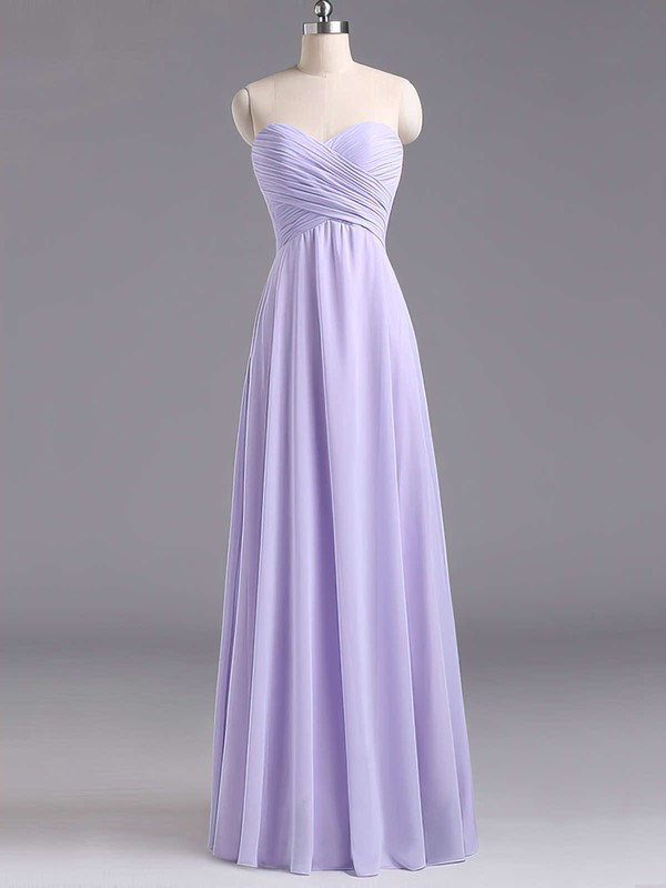 Sweetheart Lavender Chiffon Floor-length Ruffles Best Bridesmaid Dresses #PDS01012796