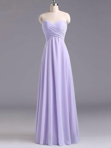 Sweetheart Lavender Chiffon Floor-length Ruffles Best Bridesmaid Dresses #PDS01012796