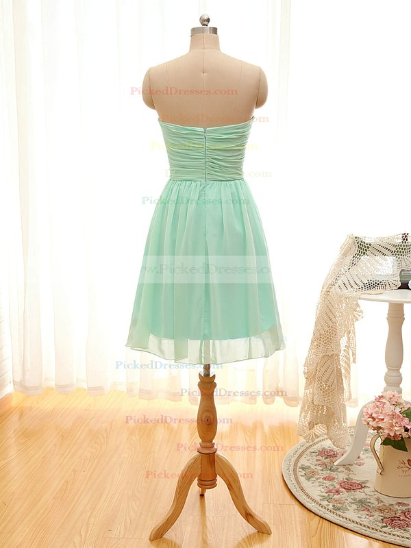A-line Sweetheart Chiffon Ruffles Sage Short/Mini Bridesmaid Dresses #PDS01012797