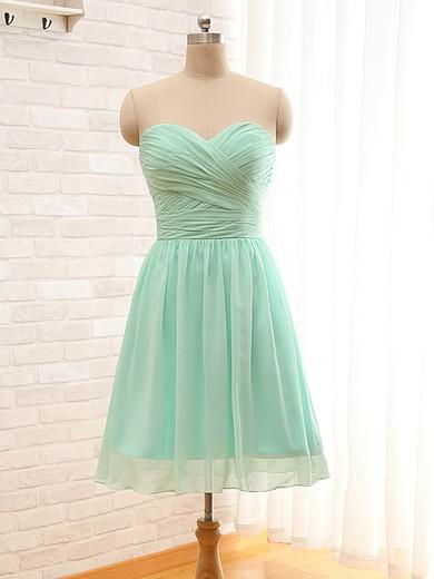 A-line Sweetheart Chiffon Ruffles Sage Short/Mini Bridesmaid Dresses #PDS01012797