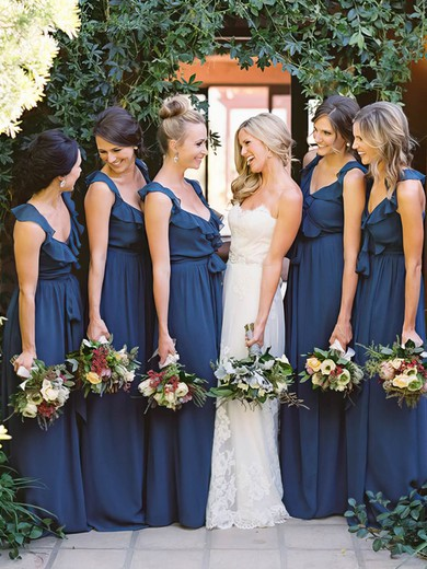 Floor-length V-neck Chiffon with Ruffles Modest Bridesmaid Dresses #PDS01012798