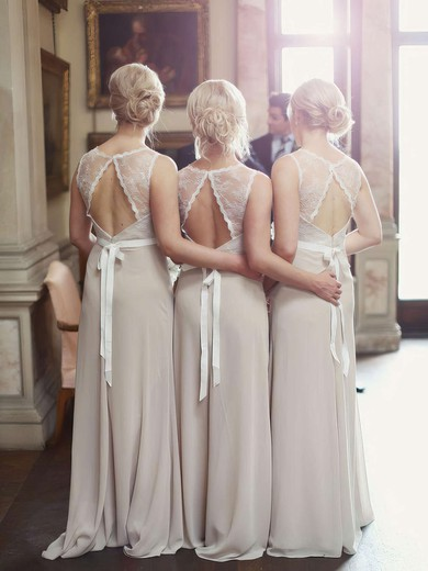 Unique Scoop Neck Lace Chiffon Sashes / Ribbons A-line Open Back Bridesmaid Dresses #PDS01012799