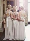 Unique Scoop Neck Lace Chiffon Sashes / Ribbons A-line Open Back Bridesmaid Dresses #PDS01012799
