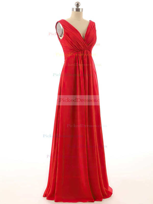 Empire V-neck Chiffon with Ruffles Pretty Red Bridesmaid Dresses #PDS01012800