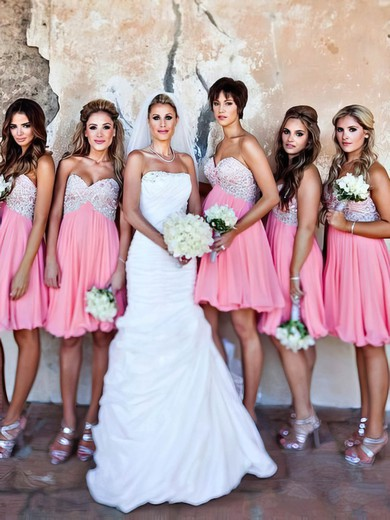 Empire Pink Chiffon Beading Sweetheart Short/Mini Bridesmaid Dresses #PDS01012801