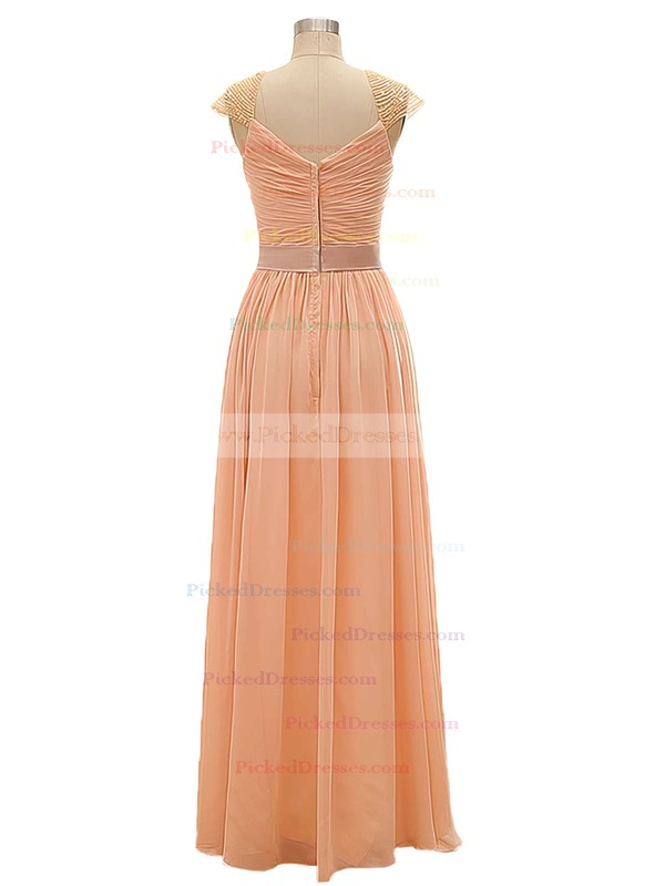 V-neck Chiffon with Criss Cross A-line Girls Bridesmaid Dresses #PDS01012802