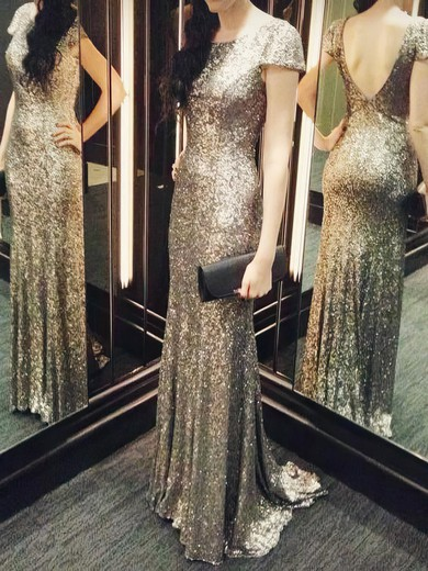 Sheath/Column Scoop Neck Backless Sequined Short Sleeve Bridesmaid Dresses #PDS01012803