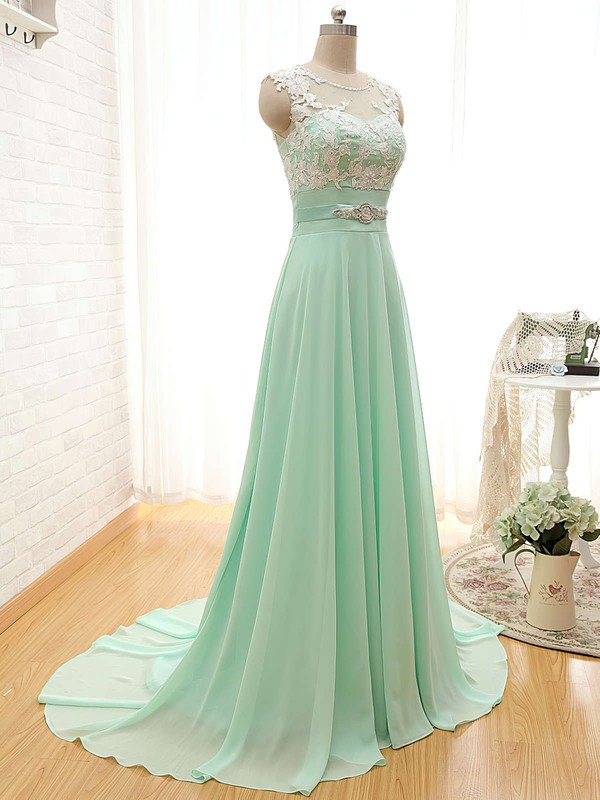 Affordable Scoop Neck Chiffon Appliques Lace Sage Court Train Bridesmaid Dresses #PDS01012804