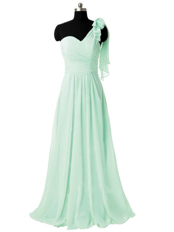 Sweep Train Sage Chiffon Ruffles Simple One Shoulder Bridesmaid Dresses #PDS01012805