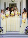 A-line Light Yellow Chiffon Ruffles Classy One Shoulder Bridesmaid Dresses #PDS01012806