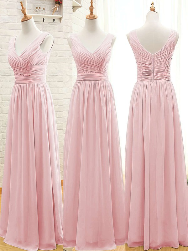 Sage Chiffon Floor-length Ruffles V-neck Promotion Bridesmaid Dresses #PDS01012807
