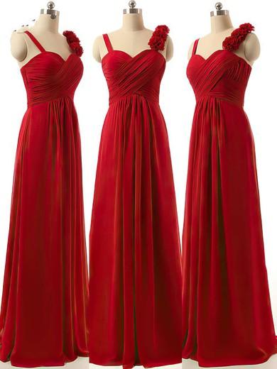 Discounted A-line Sweetheart Chiffon Ruffles Burgundy Bridesmaid Dresses #PDS01012808