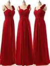 Discounted A-line Sweetheart Chiffon Ruffles Burgundy Bridesmaid Dresses #PDS01012808