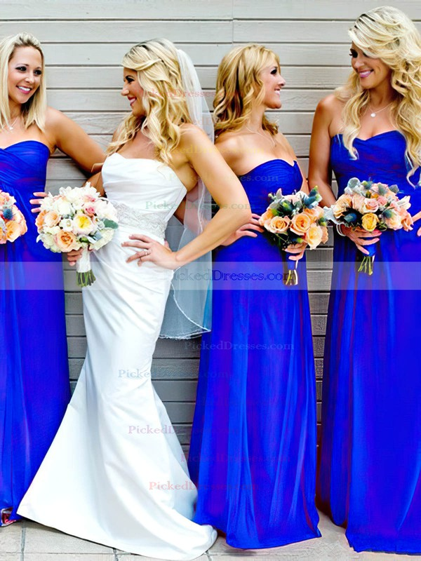 Sweetheart Chiffon Ruffles Perfect Empire Royal Blue Bridesmaid Dresses #PDS01012809