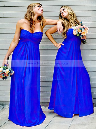 Sweetheart Chiffon Ruffles Perfect Empire Royal Blue Bridesmaid Dresses #PDS01012809