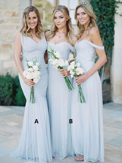A-line Ruffles Tulle Different Silver Off-the-shoulder Bridesmaid Dresses #PDS01012810
