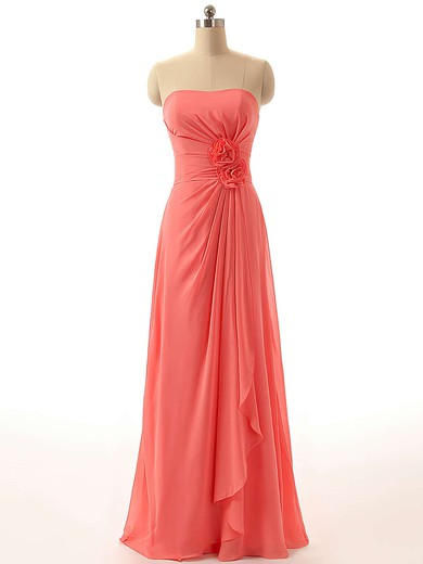 Chiffon Floor-length with Flower(s) Discount Strapless Bridesmaid Dresses #PDS01012811