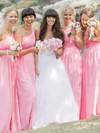 New Pink Chiffon Floor-length Ruffles One Shoulder Bridesmaid Dresses #PDS01012812