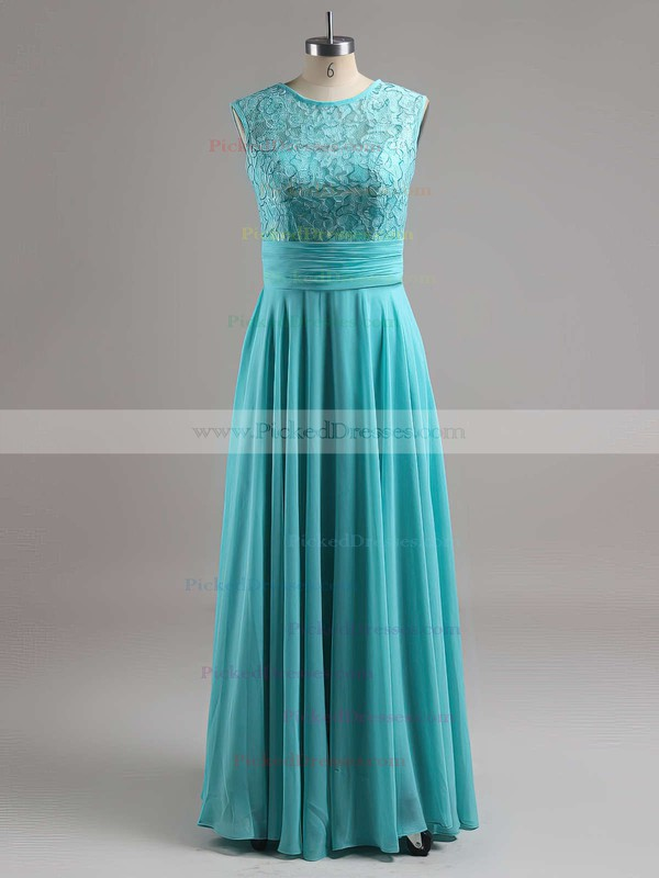 Scoop Neck Ruched Lace Chiffon Floor-length Latest Bridesmaid Dresses #PDS01012813