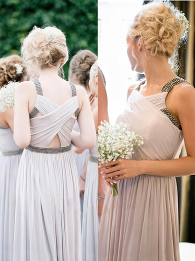 Floor-length Chiffon A-line with Beading Popular Bridesmaid Dresses #PDS01012814