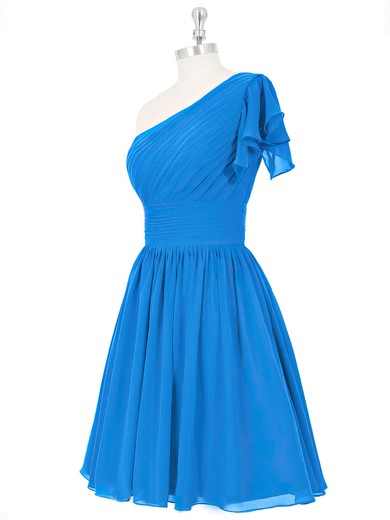 Cute Blue Ruched Chiffon Short/Mini One Shoulder Bridesmaid Dresses #PDS01012815