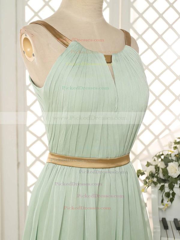 Gorgeous Sweep Train Chiffon Ruffles Scoop Neck Open Back Bridesmaid Dresses #PDS01012818