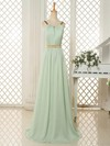 Gorgeous Sweep Train Chiffon Ruffles Scoop Neck Open Back Bridesmaid Dresses #PDS01012818