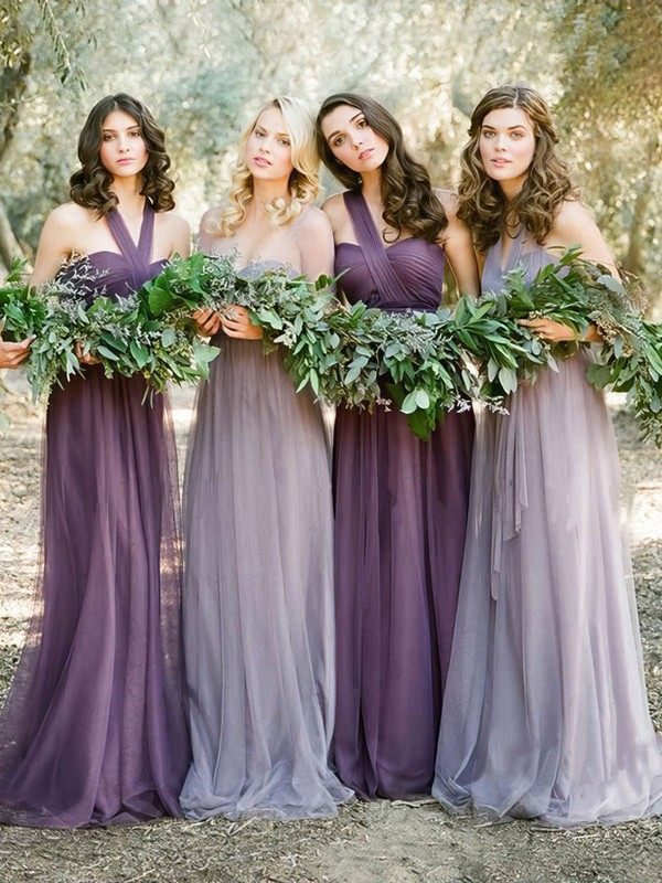 Boutique Ruffles Tulle Sweep Train Halter Bridesmaid Dresses #PDS01012819