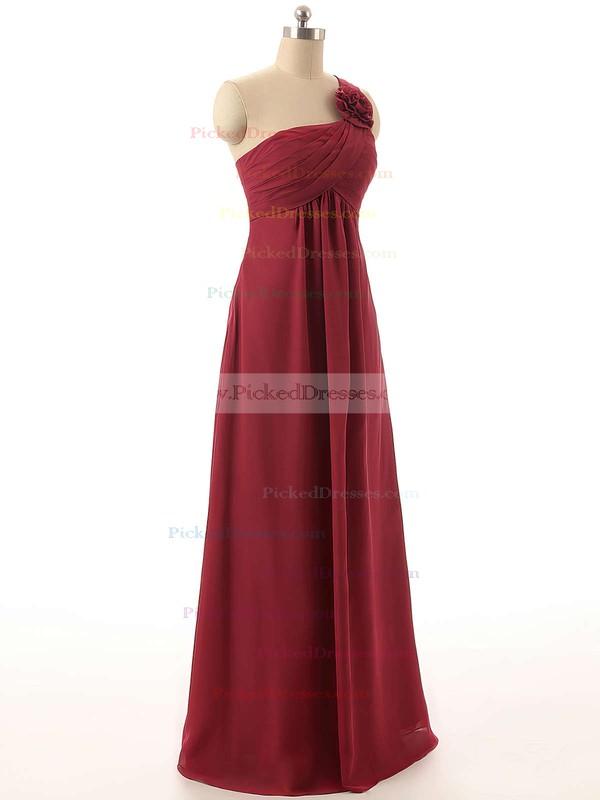 One Shoulder Empire Chiffon Flower(s) Prettiest Burgundy Bridesmaid Dresses #PDS01012820