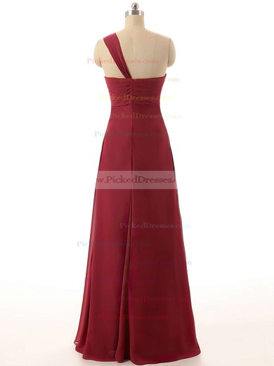 One Shoulder Empire Chiffon Flower(s) Prettiest Burgundy Bridesmaid Dresses #PDS01012820