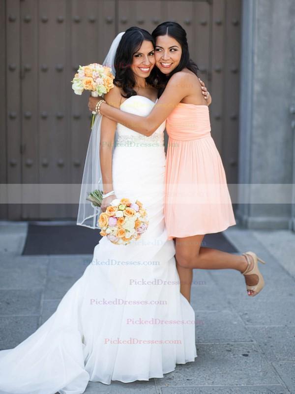 Pink Sweetheart Good Chiffon Ruffles Short/Mini Bridesmaid Dresses #PDS01012821