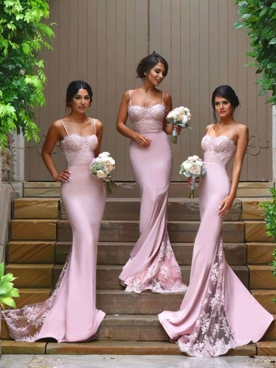 Funky Silk-like Satin Appliques Lace Sweetheart Trumpet/Mermaid Bridesmaid Dresses #PDS01012822