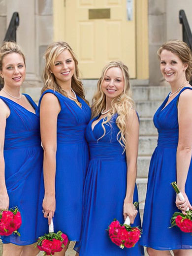 V-neck Knee-length Chiffon Ruffles Newest Royal Blue Bridesmaid Dresses #PDS01012823