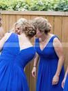 V-neck Knee-length Chiffon Ruffles Newest Royal Blue Bridesmaid Dresses #PDS01012823