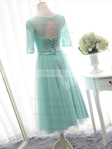 Great Scoop Neck Lace Tulle with Bow Knee-length 1/2 Sleeve Bridesmaid Dresses #PDS01012824