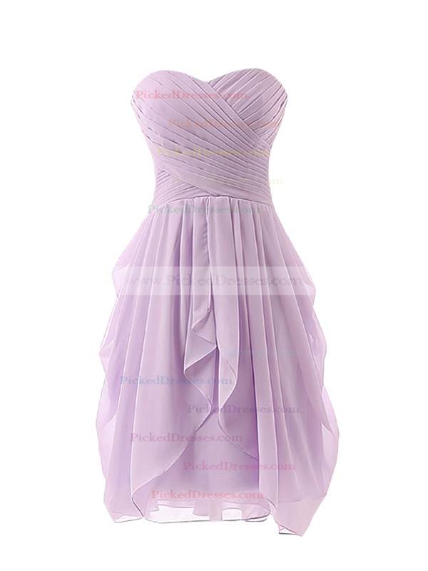 Sweetheart Ruffles Chiffon Fashion Short/Mini Lavender Bridesmaid Dress #PDS01012825