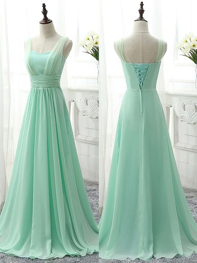 Sweetheart Sage Chiffon Sweep Train Ruffles Famous Bridesmaid Dress #PDS01012826
