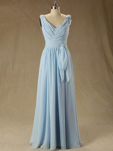 Floor-length V-neck Ruffles Chiffon Junior Bridesmaid Dress #PDS01012827