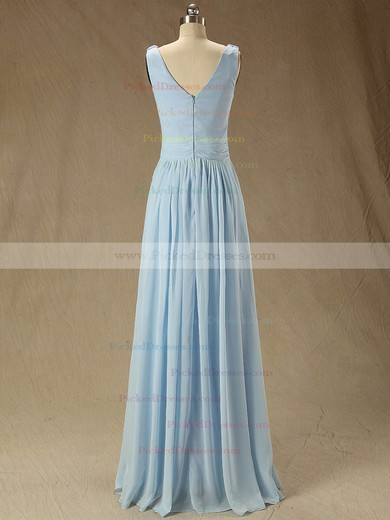Floor-length V-neck Ruffles Chiffon Junior Bridesmaid Dress #PDS01012827