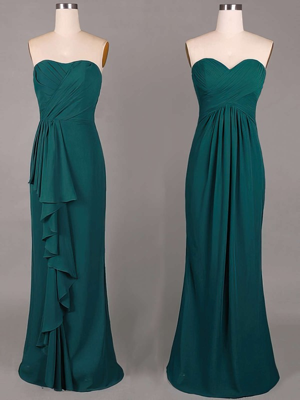 Sweetheart Online Sheath/Column Chiffon Ruffles Dark Green Bridesmaid Dresses #PDS01012859
