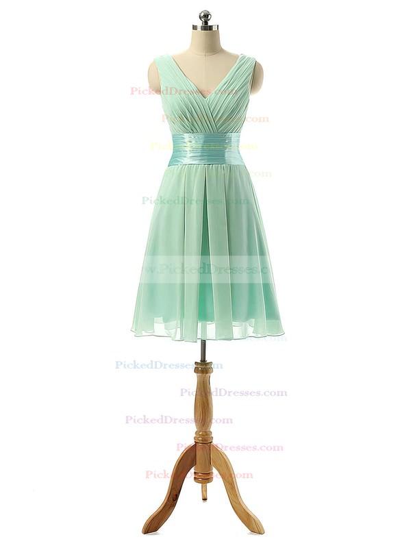 Cheap V-neck Chiffon Sashes / Ribbons Knee-length Bridesmaid Dresses #PDS01012860