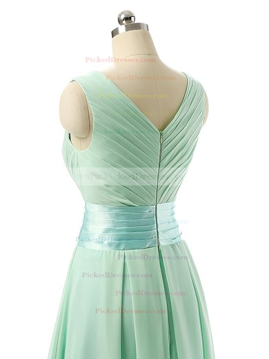 Cheap V-neck Chiffon Sashes / Ribbons Knee-length Bridesmaid Dresses #PDS01012860