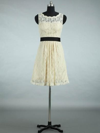 Scalloped Neck Lace Sashes / Ribbons Designer Short/Mini Bridesmaid Dresses #PDS01012861