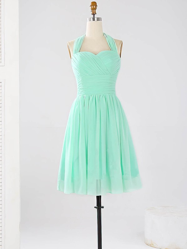 2016 Halter Chiffon Ruched Sage Short/Mini Bridesmaid Dresses #PDS01012862