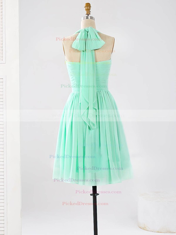 2016 Halter Chiffon Ruched Sage Short/Mini Bridesmaid Dresses #PDS01012862
