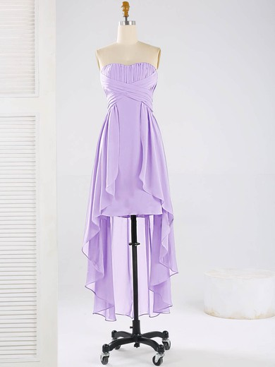 Asymmetrical Sweetheart Chiffon Ruffles Elegant High Low Bridesmaid Dresses #PDS01012863