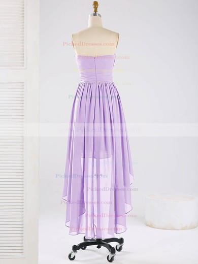 Asymmetrical Sweetheart Chiffon Ruffles Elegant High Low Bridesmaid Dresses #PDS01012863