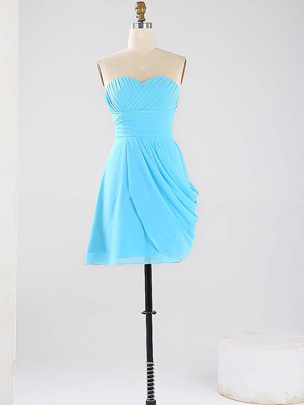 Blue Sweetheart Vintage Chiffon Ruched Short/Mini Bridesmaid Dresses #PDS01012864