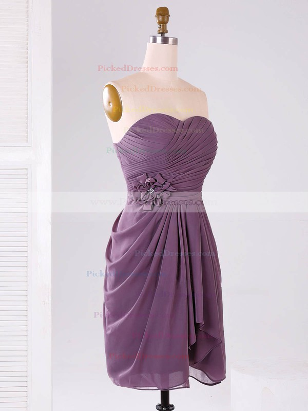 Modest Sweetheart Chiffon Ruffles Short/Mini Bridesmaid Dresses #PDS01012865