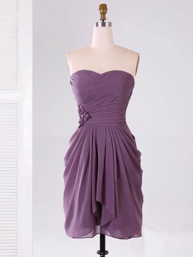 Modest Sweetheart Chiffon Ruffles Short/Mini Bridesmaid Dresses #PDS01012865